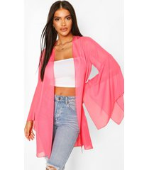 wide sleeve belted kimono, pink