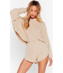 womens knits bound to happen sweater and shorts set - oatmeal
