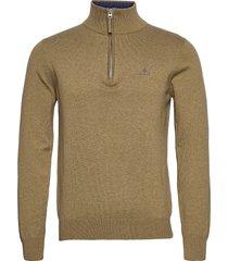 classic cotton half zip knitwear half zip jumpers beige gant