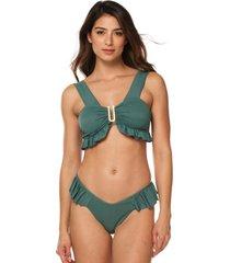 vestido de baño bikini brisa straple panty con boleros latin-verde pino