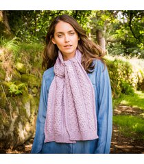ladies' cashmere blend aran scarf purple one size