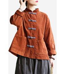 cappotto vintage a maniche lunghe in velluto a coste con bottoni di rana
