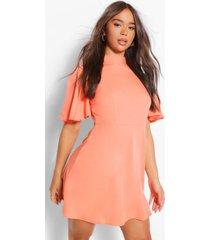 high neck flutter sleeve skater dress, coral
