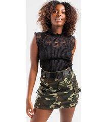 faithe cargo buckle belt mini skirt - green