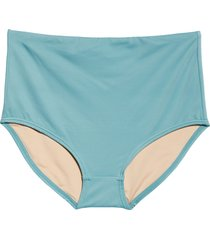 women's madewell second wave retro high waist bikini bottoms, size xx-large - blue/green