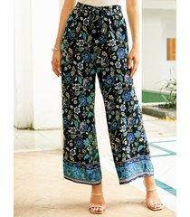 yoins pantalones negros de pernera ancha con estampado floral