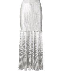 alexander mcqueen metallic knitted skirt - silver