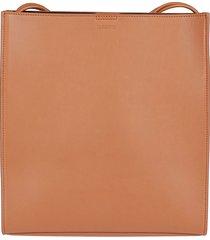 jil sander brown leather shoulder bag