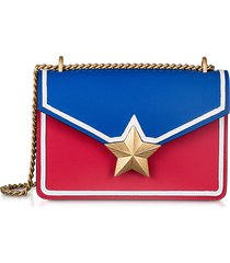 les jeunes etoiles designer handbags, blue & red leather new vega trim shoulder bag