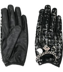 karl lagerfeld soho charm tweed gloves - black