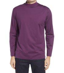 men's bugatchi ooohcotton long sleeve mock neck tech t-shirt, size xx-large - purple
