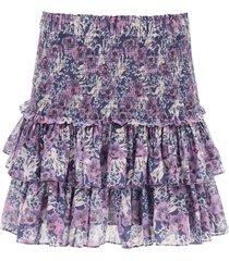 isabel marant étoile floral print mini skirt with flounces