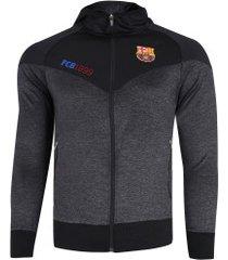 jaqueta barcelona com capuz jogador - masculina - cinza escuro/preto