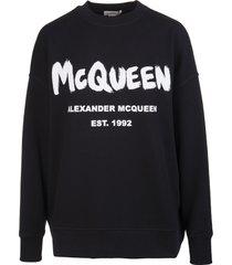 alexander mcqueen woman black mcqueen graffiti sweatshirt