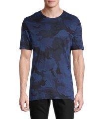 zadig & voltaire men's camo-print linen tee - navy - size xs