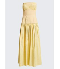 lauryn shirred strapless maxi dress