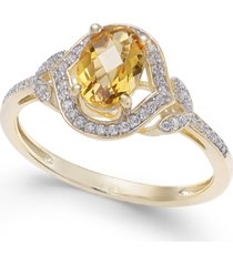 citrine (3/4 ct. t.w.) & diamond (1/8 ct. t.w.) ring in 14k gold (also available in opal, blue topaz & amethyst)