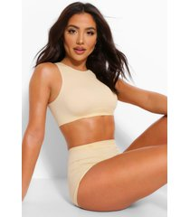 ribbed seamless high neck crop bralette, nude