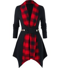 plus size asymmetrical plaid panel tunic coat