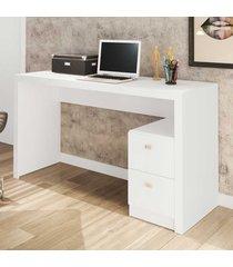 mesa para escritório 2 gavetas branco me4130 - tecno mobili