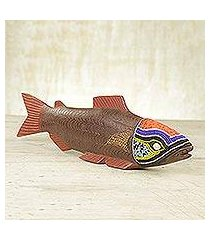 beaded wood sculpture, 'tribal salmon' (ghana)