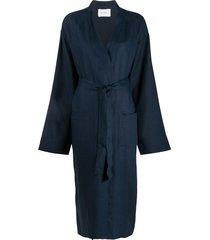 sleeper long sleeve belted coat - blue