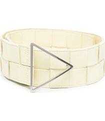 bottega veneta maxi intrecciato leather belt - yellow