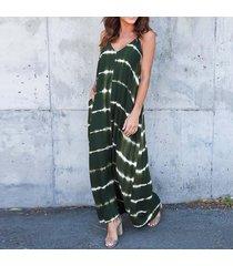 zanzea de rayas bolsillos vestido de verano de las mujeres con cuello en v de la correa de espagueti del vestido largo verde del ejército -verde
