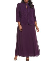 plus size women's alex evenings mock two-piece gown with jacket, size 22w - purple