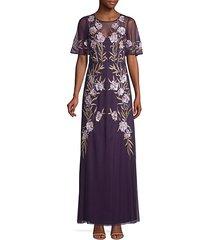 floral embellished mesh gown