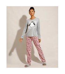 pijama manga longa estampado de pinguins cinza mescla