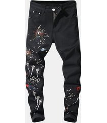 mens breve ricamo traspirante zipper button design casual pantaloni