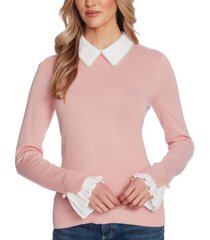 cece cotton collared imitation-pearl sweater