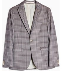 mens pink lilac check super skinny fit single breasted suit blazer with peak lapels