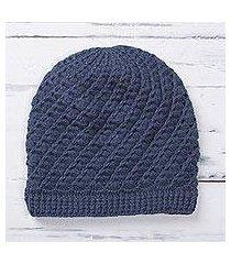 alpaca blend hat, 'sweet spirals in azure' (peru)