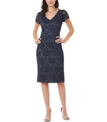 js collections soutache embroidered sheath dress