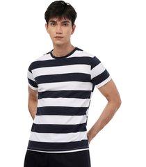 camiseta franjas hombre color blanco, talla s