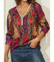camicetta casual per donna con cerniera scollo a v stampata floreale vintage