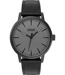 hugo men's #stand black leather strap watch 40mm