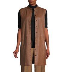 malva lamb leather longline vest