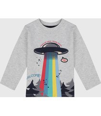 camiseta manga larga gris-multicolor boboli