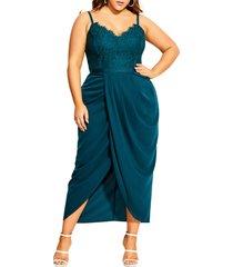 plus size women's city chic touch of lace faux wrap dress