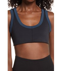 free people fp movement rebel sports bra, size large in black/new navy at nordstrom