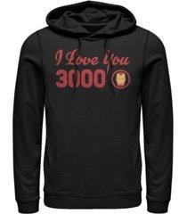 marvel men's avengers endgame iron man i love you 3000 text, pullover hoodie