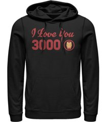 marvel men's avengers endgame iron man i love you 3000 text, pullover hoodie