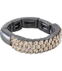 anel armazem rr bijoux regulável cristal grafite
