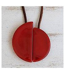 art glass and leather pendant necklace, 'scarlet planes' (brazil)