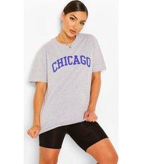 chicago slogan oversized t-shirt, grey marl