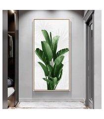 quadro 100x50cm folhas tropicais bananeira canvas em moldura flutuante filete