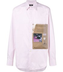 raf simons plastic pocket checked shirt - white